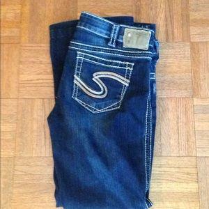 Silver dark wash jeans.  Sturdy denim Frances 22